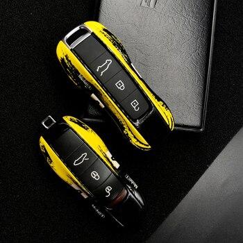 sncn leather car key case cover key wallet bag keychain holder for porsche 718 boxster cayman 911 cayenne macan panamera Car key cover for Porsche 911 971 9YA 718 for Panamera Cayenne Macan Cayman Boxster for Porsche key case cover key case shell