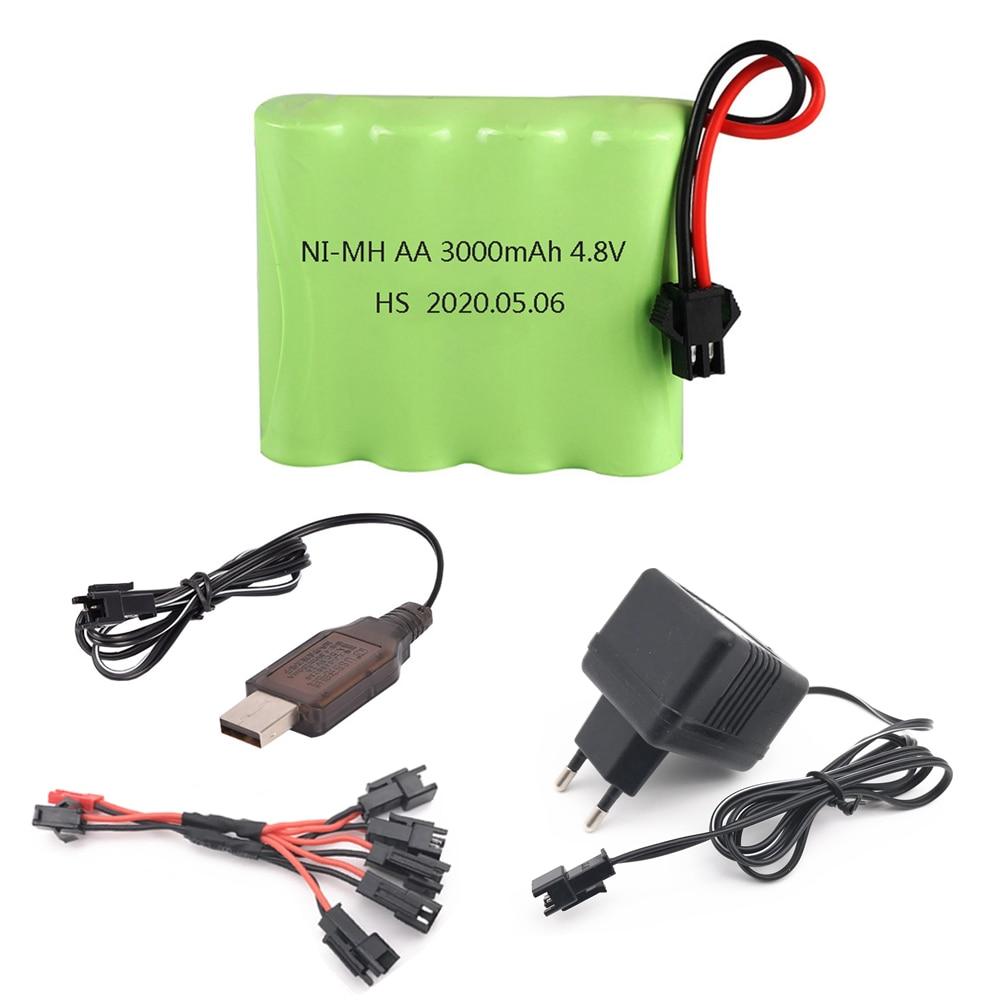 Никель-металлогидридная аккумуляторная батарея 4,8 в, 3000 мА · ч с разъемом SM и зарядным устройством для радиоуправляемых игрушек, автомобиле...