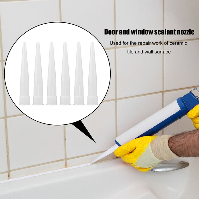 12pcs Plastic Universal Caulking Nozzle Glass Glue Tip Mouth Home Improvement Construction Tools 3
