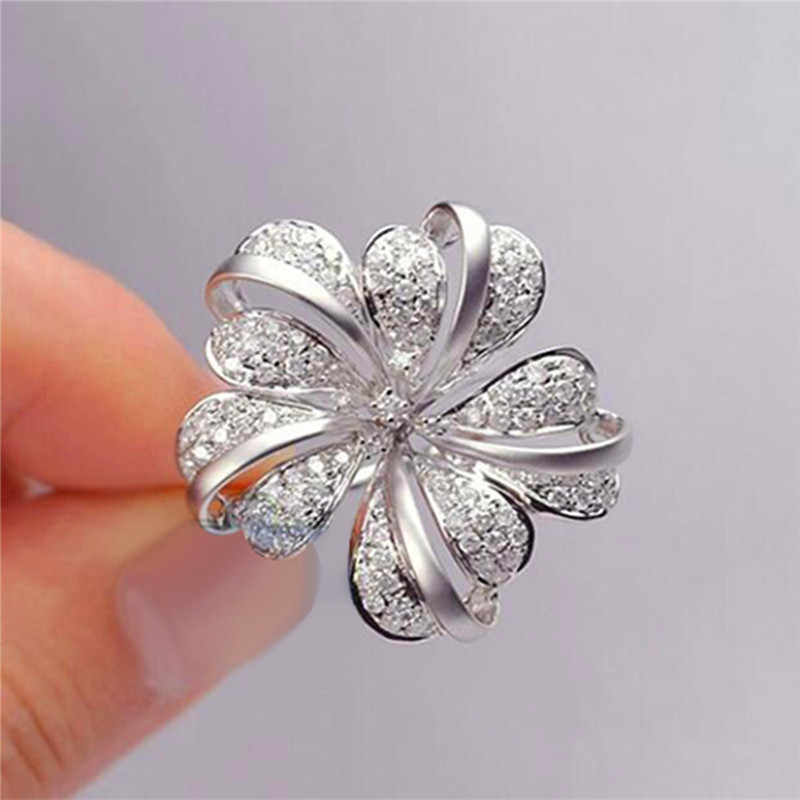 Crystal Female Big Flower Zircon Ring Luxury Silver Color Love Engagement Ring Vintage Promise Wedding Rings For Women