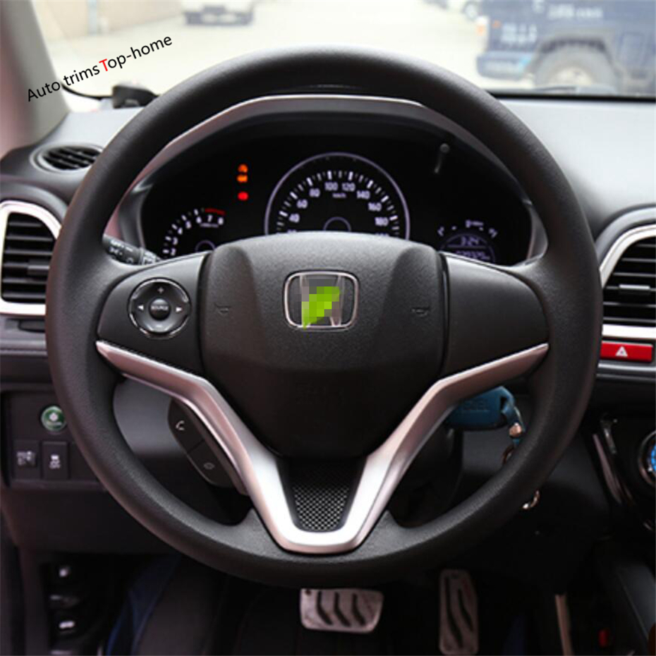 Yimaautotrims Matte / Carbon Fiber Look Interior Refit Kit Fit For Honda HR-V / Vezel 2014 - 2020 Car Steering Wheel Cover Trim