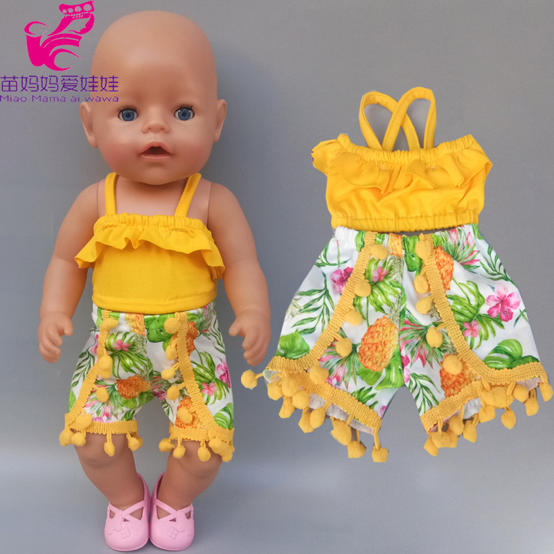 Doll Clothes Ruffle Camisole Pineapple Summer Set For 43cm Baby Doll 18