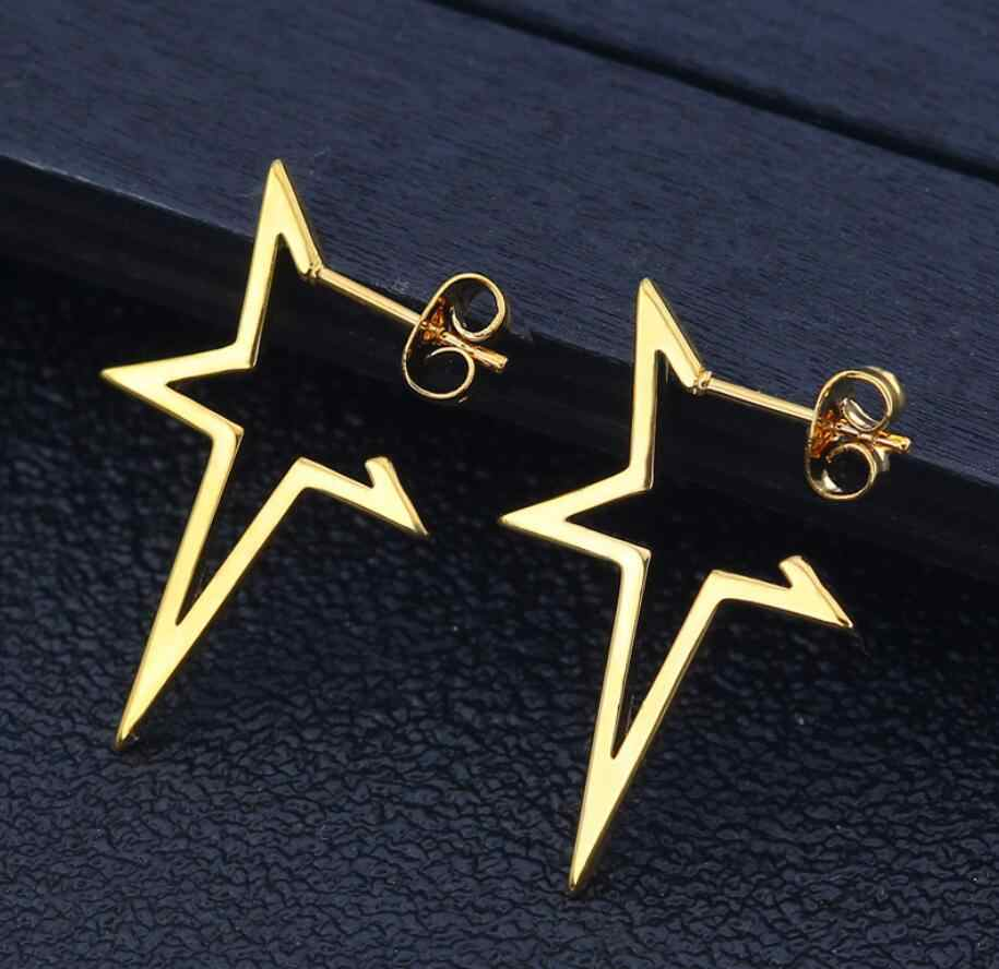 Hfarich Stainless Steel Big Sized Gold Irregular Open Star Earrings Delicate Gothic Punk Street Fashion Piercing Earings Brincos