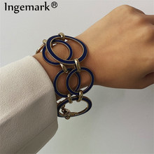 Ingemark Vintage Round Lock Chain Bracelets Bangles Women Armband Punk Blue Silver Geometric Bracelet Best Women Jewelry Gifts(China)
