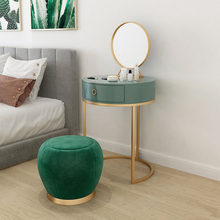 Nordic Round Dressing Table туалетный столик Drawer Makeup Dresser Set with Stool Mirror Set Cosmetic Table Bedroom Furniture(China)