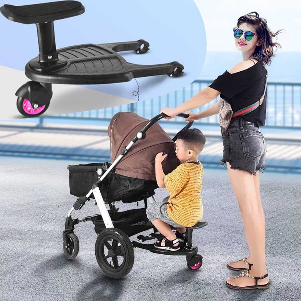 Buggy Wheeled Board Baby Stroller Ride-On Sliding Gliding Stand Board with Detachable Seat Hop To 25Kg Baby Stroller Accessories