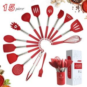 Image 1 - 새로운 주방 용품 세트 9/15Pcs 요리 도구 실리콘 스테인레스 스틸 비 스틱 주걱 스토리지 박스 주걱 주방 도구