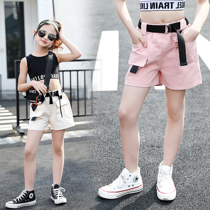 New Cool Kids Girl Cargo Shorts With Belt Teens Girl Casual Shorts High Quality Teenagers Summer Clothing For 4-13 Years Old Age