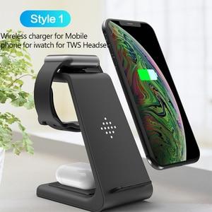 Image 2 - 10 W 3 en 1 chargeur sans fil pour iPhone 11 Pro XR 8 Samsung S10 chargeur sans fil Station daccueil pour Airpods Pro Apple Watch 5 4 3 2