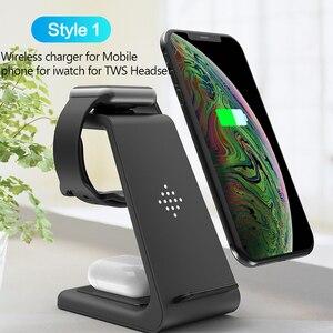 Image 2 - Беспроводное зарядное устройство 3 в 1 10 Вт для iPhone 11 Pro XR 8 Samsung S10, док станция беспроводного зарядного устройства для Airpods Pro Apple Watch 5 4 3 2