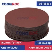 50 Pieces 150mm 6 Inch Sander Discs Hook Loop Sanding Paper Grit 40~2000 Sandpaper Woodworking Abrasive Tools
