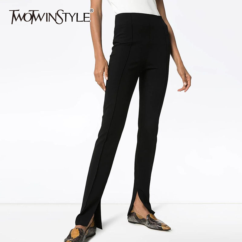 TWOTWINSTYLE Casual Full Length Pant Women High Waist Slim Side Split Flare Pants For Female Fashion Clothing 2020 Spring Tide