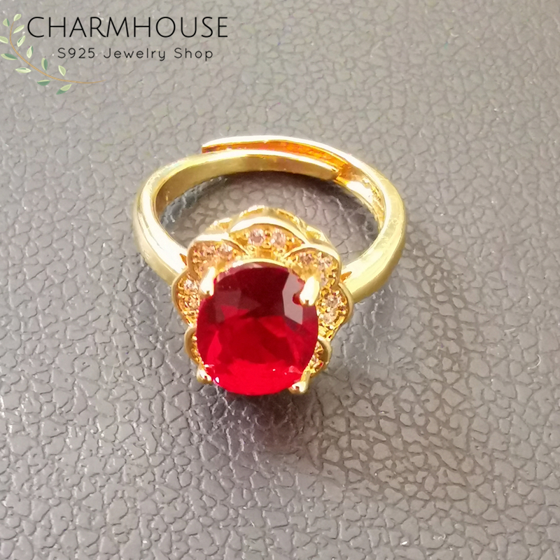 Charmhouse Wedding Rings For Women Pure Yellow Gold Color GP Zirconia Finger Ring With Red Crystal High Quality Engagement Anel