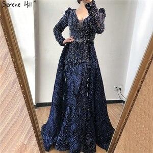 Image 4 - Dubai Blue Deep V Crystal Sexy Evening Dresses 2020 Long Sleeves Luxury Mermaid Evening Gowns Serene Hill Plus Size LA70223
