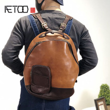 AETOO Handmade leather shoulder bag, vintage casual travel bag, head leather trendmens backpack