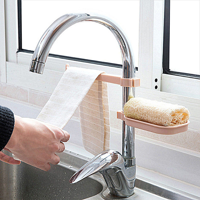 Plastic Faucet Drain Storage Rack Home Kitchen Sink Sponge Rag Bracket Rack Bathroom Towel Soap Box Shelf Hanging Storage Holder