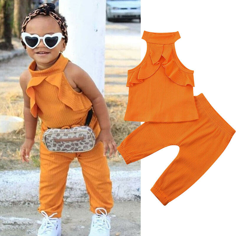 Toddler Kids Baby Girl Clothes Orange Sleeveless Halter Tops+Long Pants Summer Outfits 2PCS Set 2020 Baby Infant Clothes 6M-4Y