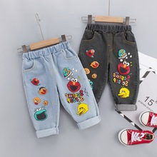 Brand Kids Cartoon Trousers Pant Fashion Girls Jeans Children Boys Hole Jeans Kids Fashion Denim Pants Baby Jean Infant Clothing cheap OOPSMILE Casual Fits true to size take your normal size HM018 Elastic Waist Unisex Straight