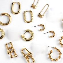 Boucles d'oreilles de texture or de fil géométrique épais, Design Unique, minimaliste, serrure ardillon de sécurité, boucles d'oreilles cerceau pour femmes, bijoux cadeau