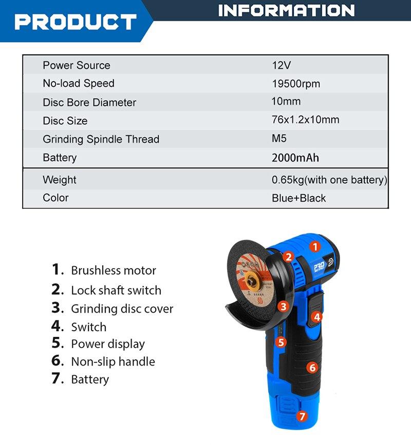Prostormer Angle Grinder Cordless Product information