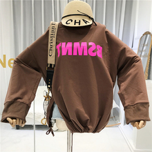 Oversized Hoodie Letter Cotton Pullovers Korean Hoodie Hem Contraction O-Neck Streetwear women's outerwear new items 2018