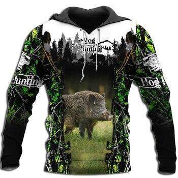 Drop shipping Hog Hunting Animal 3D All Over Printed Mens Hoodie Harajuku Fashion Sweatshirt Unisex Casual Pullover KJ033 animal print drop shoulder sweatshirt