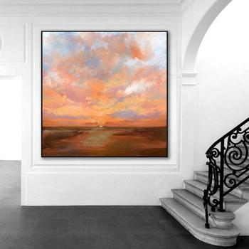 Large Sky Abstract Art Painting On Canvas Brown Painting Orange Painting Sunset Landscape Painting Sea Wall Art Office Decor