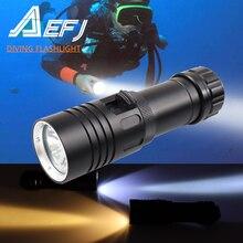 Linterna de buceo IPX8 resistente al agua, XM L2, amarilla y blanca, LED para BUCEO BAJO EL AGUA, 80M, lámpara para acampar, batería 26650 18650