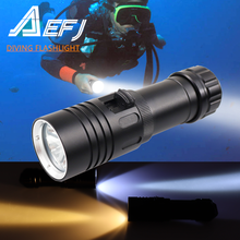 Waterproof IPX8 Diving Flashlight XM L2 Yellow White LED Torch Dive Underwater 80M Lamp Light Camping use 26650 18650 Battery