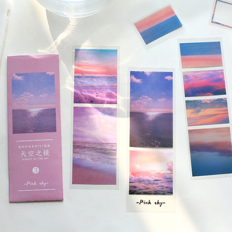 3 Pcs/pack Meet Time Scenery PET Journal Decorative Adhesive Stickers DIY Decoration Diary Stationery Stickers Children Gift