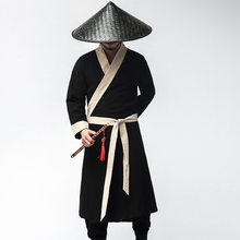 Men Chinese Hanfu Traditional Tang Suit Jackets WuShu Gown Robe TaiChi Clothing Shaolin Kung Fu Uniform Medieval Cosplay Costume(China)