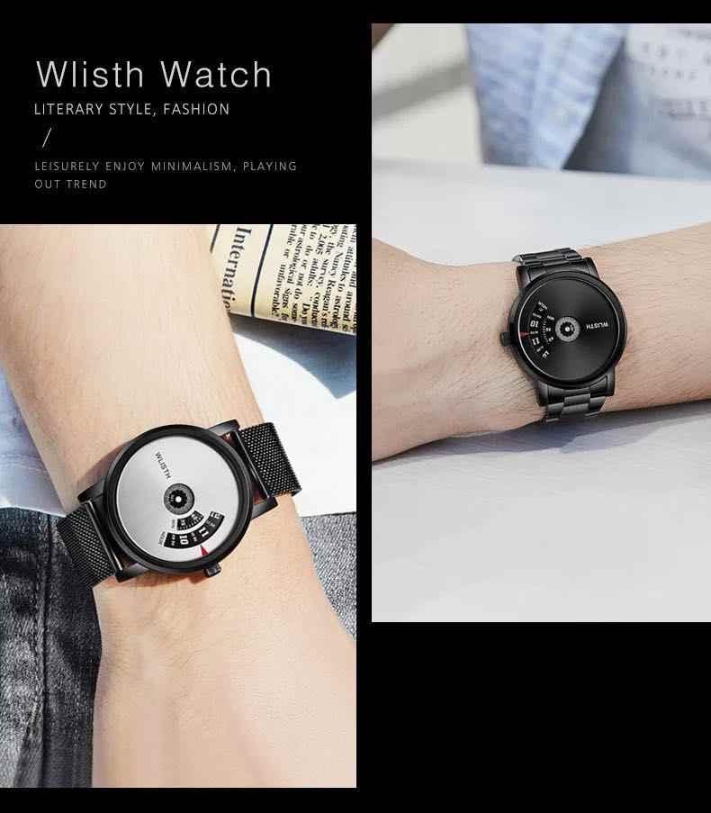 Wlisth Populaire Nieuwe Zwarte Heren Horloge Gepersonaliseerde Waterdichte Heren Horloge Minuut Tweede Creatieve Roterende Wijzerplaat Horloge Man