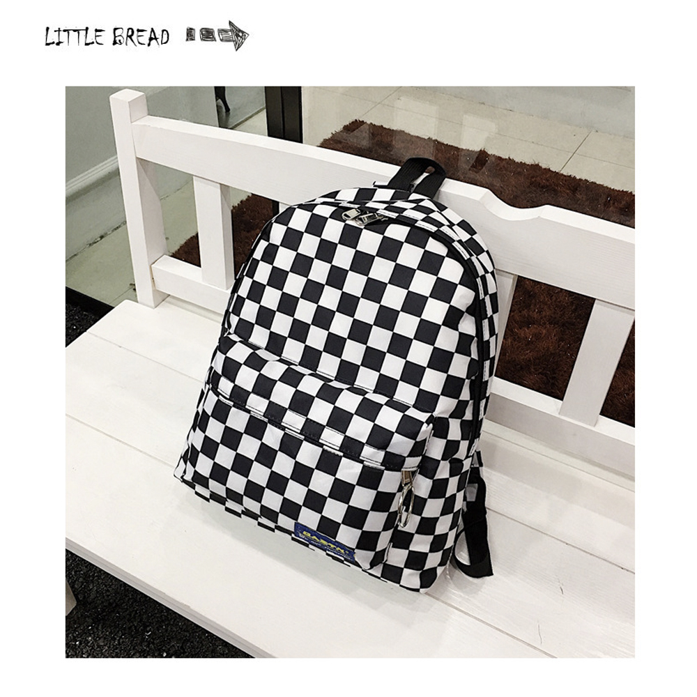 2019 Hot Selling Black And White Plaid Backpack Casual Nylon Outdoor Travel Backpack WOMEN'S Bag Student School Bag