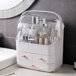 Caixa de maquiagem organizador de grande capacidade organizador de cosméticos titular caixa de armazenamento de maquiagem penteadeira recipiente de artigos diversos caso