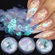 Lentejuelas de mariposa para uñas, espejo, copos de lentejuelas, Luna, corazón, redondas, para decoración de uñas, pigmento holográfico, BEAB01 15 de manicura, 1 ud.