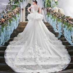 LS00409 платье длинное  два слоя пухлый юбка совок шею короткие рукава большой магазин поезда онлайн фарфор 2018 свадебные платья