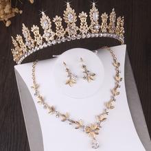 Barokowy Vintage złoty kryształ liść zestawy biżuterii ślubnej kolczyki Rhinestone naszyjnik koraliki afrykańskie zestaw biżuterii ślubnej diadem tanie tanio Ze stopu cynku Kobiety TRENDY Necklace Earrings Crown Zestawy biżuterii dla nowożeńców Costume jewelery sets Ślub PLANT