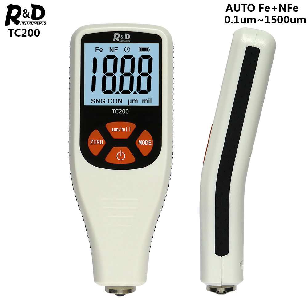 R&D TC200 Coating Thickness Gauge 0.1um/0-1500 Car Paint Film Thickness Tester Measuring FE/NFE Russian Manual Paint Tool White