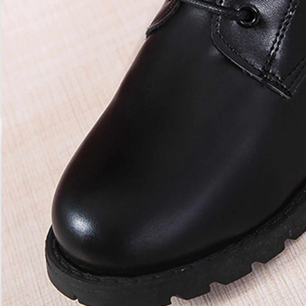 Moda kemer toka kayış uzun çizmeler kış dantel-up ayakkabı kadınlar saf renk yüksek topuklu kadın diz yüksek uzun tüp fermuar çizmeler