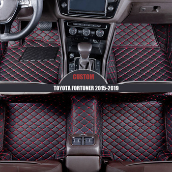 Custom leather Car Floor Mats For TOYOTA Fortuner 2015 2016 2017 2018 2019 foot Pads auto carpet waterproof car accessories