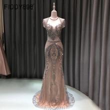 فستان سهرة فاخر حورية البحر طويل الأكمام مطرز يدويا فستان حفلة موسيقية 2020 Vestidos de Fiesta de Noche OEV L4208