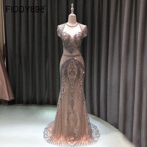 Image 1 - Lüks Mermaid akşam elbise uzun Cap kollu el yapımı boncuklu balo elbise 2020 Vestidos de Fiesta de Noche OEV L4208