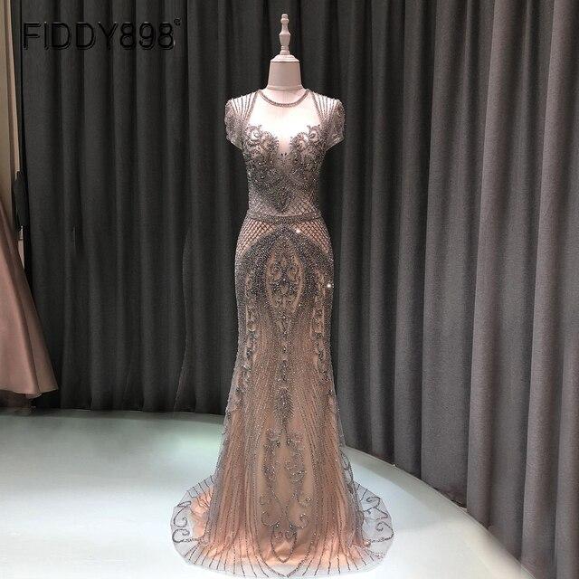 Luxo sereia vestido de noite longo boné manga artesanal frisado baile de formatura vestido 2020 vestidos de noche OEV L4208