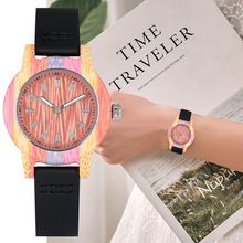 Colorful Bamboo Wooden Watch Female Black Leather Band Dial Display Case Woman Watches 2019 Wristwatch YISUYA reloj mujer