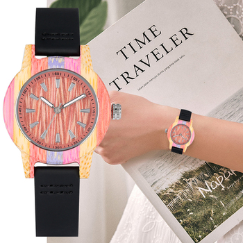 цена на Colorful Bamboo Wooden Watch Female Black Leather Band Dial Display Case Woman Watches Wristwatch YISUYA reloj mujer