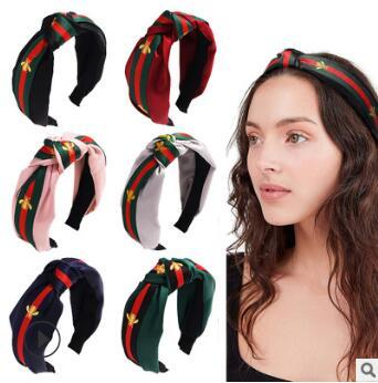 50pcs/lot DIY Multi Simple Fabrics Stripe Headband Tie A Knot Honey Bee Head Bands Hair Care & Styling Tools HA810