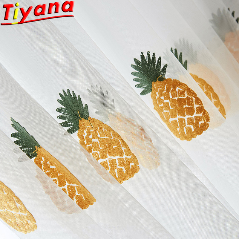 Fruit Tulle Pineapple Embroidered for Living Room White Sheer Simple Pastoral Voile Customizable WP430#40