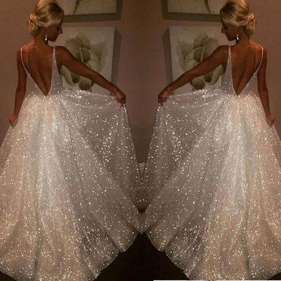 2019 sequin dress maxi lace white dress Organza women dress V Neck Wedding backless dress bodycon dresses woman party night|Dresses| - AliExpress