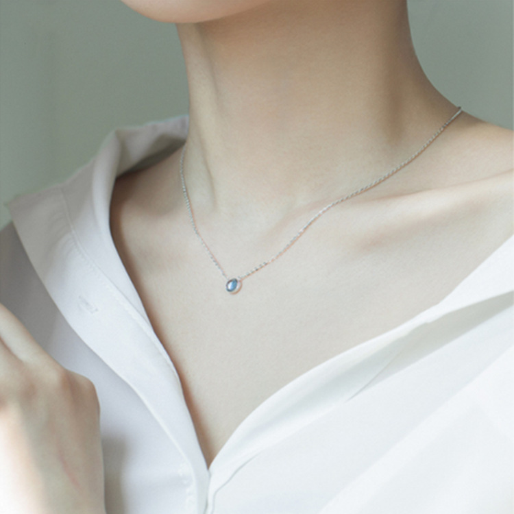 925 Sterling Silve Necklace For Women Star Of the Sea Light Blue Choker Fashoin Pendant Charm Elegant Fine Jewelry Gift