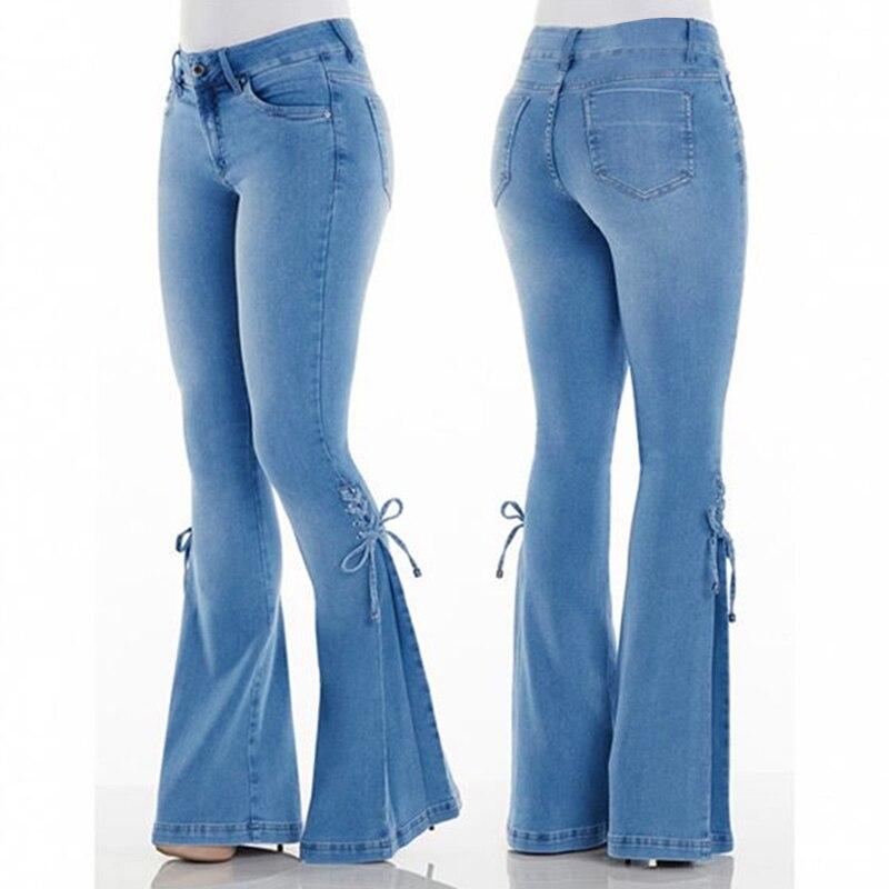 Винтажные расклешенные джинсы средней длины на талии для женщин 2020, джинсы для мам, осенние и зимние джинсы больших размеров, синие джинсы